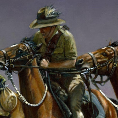 (CreativeWork) THE HORSE HOLDER by Ron and Jennifer Marshall. Oil Paint. Shop online at Bluethumb.