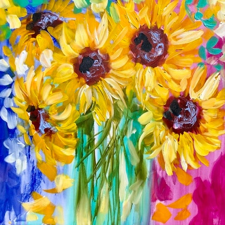 (CreativeWork) Golden sunflowers  by Amanda Brooks. Acrylic Paint. Shop online at Bluethumb.