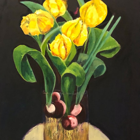 (CreativeWork) LUCIE'S TULIPS by Maureen Finck. Oil Paint. Shop online at Bluethumb.