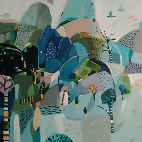 (CreativeWork) Abstract landscape  - Striped Trees by Susan Trudinger. Acrylic Paint. Shop online at Bluethumb.