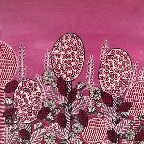 (CreativeWork) Bulbs and Blooms Red- CZ20023 by Carol Zsolt. Acrylic Paint. Shop online at Bluethumb.