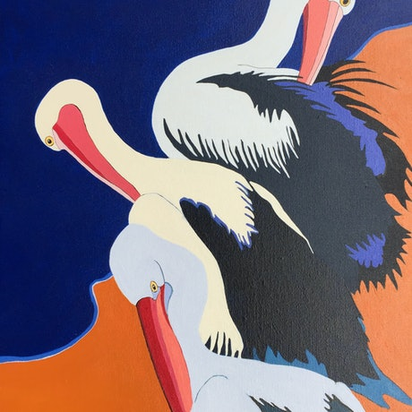 (CreativeWork) Pelicans Preening 2   by Marian Quigley. Acrylic Paint. Shop online at Bluethumb.