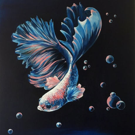 (CreativeWork) Betta Fish One by Kathryn Johnston. Acrylic Paint. Shop online at Bluethumb.