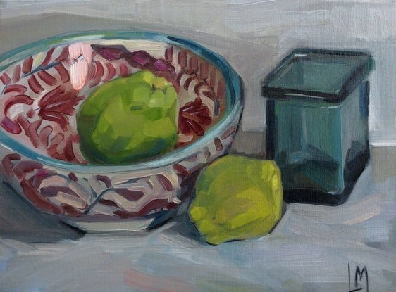 (CreativeWork) Still life with quinces by Liza Merkalova. Oil Paint. Shop online at Bluethumb.