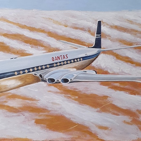 (CreativeWork) Qantas Wet Lease Comet 4 by Rob Kennedy. Oil Paint. Shop online at Bluethumb.