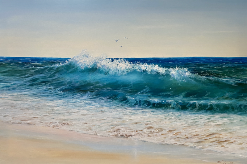 (CreativeWork) Beyond the Break  by Janet Claydon. Oil Paint. Shop online at Bluethumb.