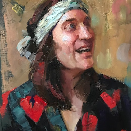 (CreativeWork) Oil Sketch - Noel Feilding by Colleen Stapleton. Oil Paint. Shop online at Bluethumb.