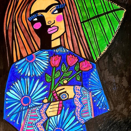 (CreativeWork) Three Roses for Frida  by jane ruggiero. Drawings. Shop online at Bluethumb.
