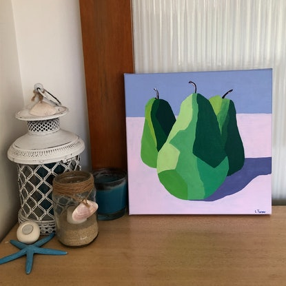 (CreativeWork) Pears Cubed Squared by Lisa Turner. Acrylic Paint. Shop online at Bluethumb.