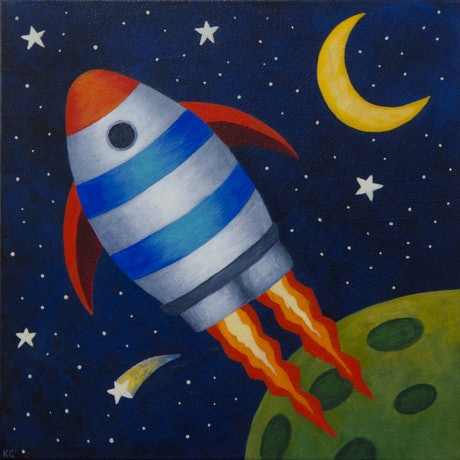 (CreativeWork) Rocketship by Kate Graham. Acrylic Paint. Shop online at Bluethumb.