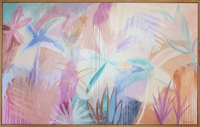 (CreativeWork) Pacific Blue Palm - Framed by Claire Cooper. Acrylic Paint. Shop online at Bluethumb.