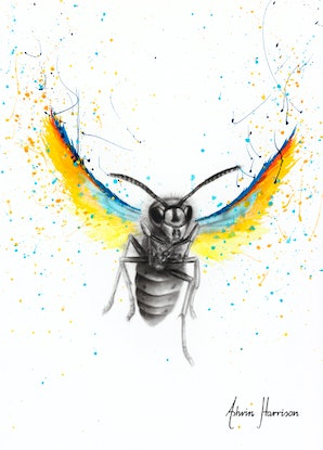 (CreativeWork) Brave Busy Bee by Ashvin Harrison. Acrylic Paint. Shop online at Bluethumb.