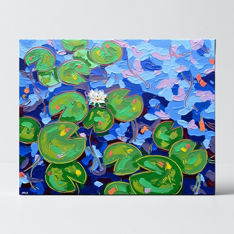 (CreativeWork) Tasman Lily Pond 30 by Joseph Villanueva. Acrylic Paint. Shop online at Bluethumb.