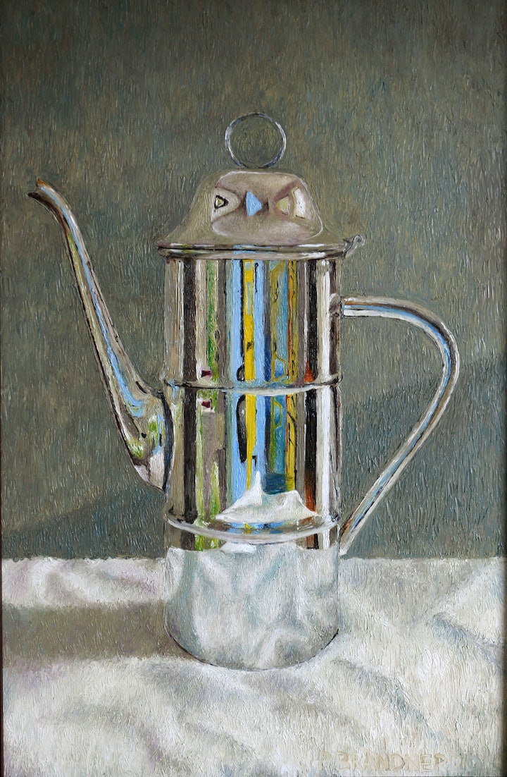 (CreativeWork) Coffeepot on table by Paul Brandner. Oil Paint. Shop online at Bluethumb.
