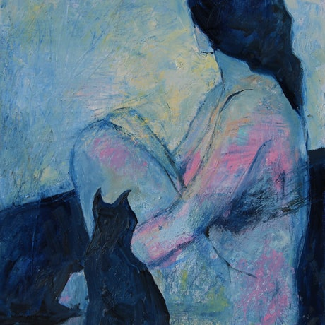 (CreativeWork) Modern Anxiety by Li Zhou. Oil Paint. Shop online at Bluethumb.