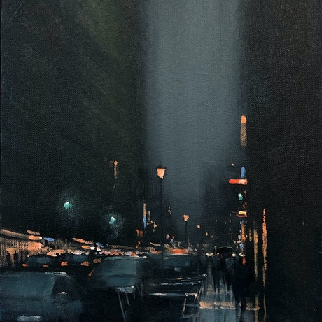 (CreativeWork) Downtown Rain - rainy cityscape by Mike Barr. Acrylic Paint. Shop online at Bluethumb.