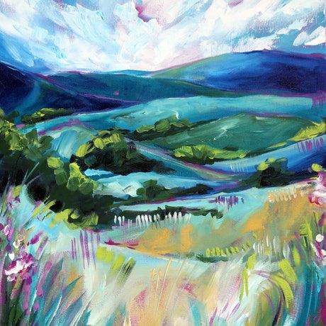 (CreativeWork) Landscape 4 by Eve Izzett. Acrylic Paint. Shop online at Bluethumb.