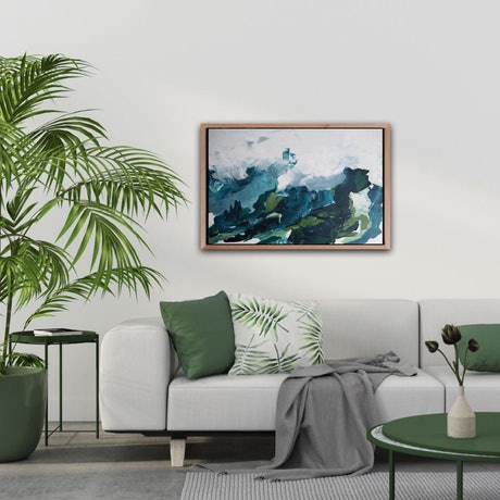 (CreativeWork) 'By The River' Framed Abstract Landscape by Michelle Keighley. Acrylic Paint. Shop online at Bluethumb.