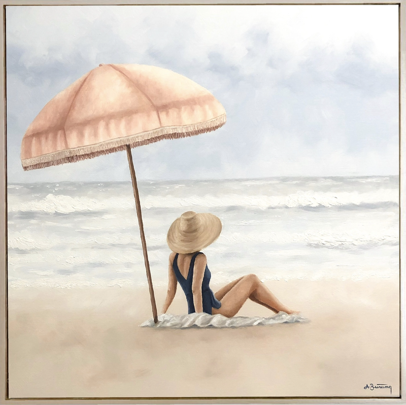 (CreativeWork) Cloudy Beach Day by Ashley Bunting. Oil Paint. Shop online at Bluethumb.