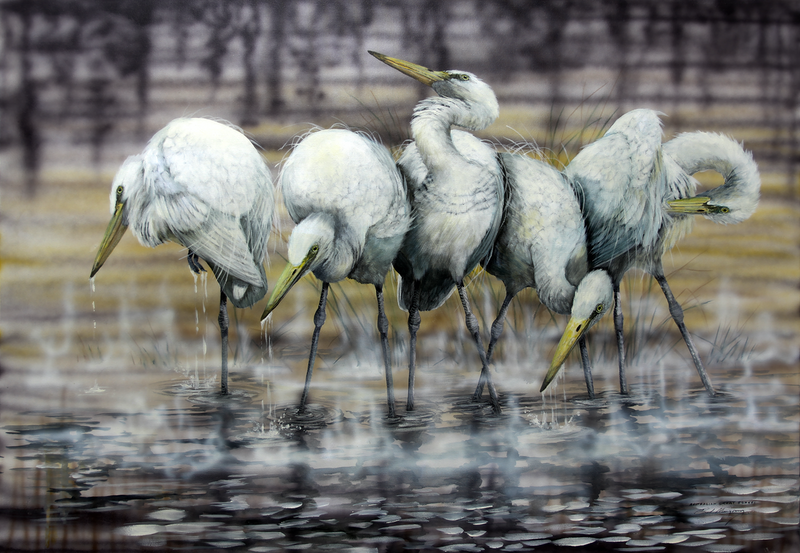 (CreativeWork) Australian Great Egrets by Paul Margocsy. Other Media. Shop online at Bluethumb.