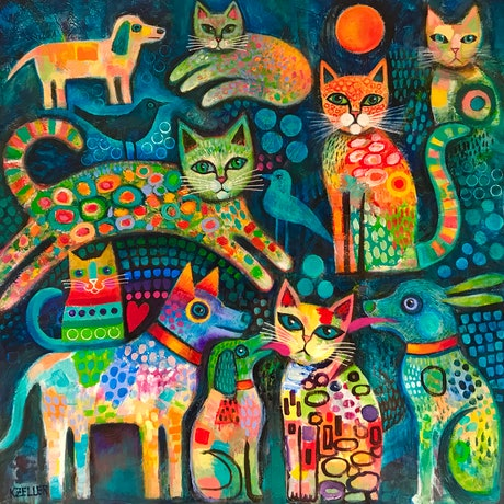 (CreativeWork) Family and Friends by Karin Zeller. Acrylic Paint. Shop online at Bluethumb.