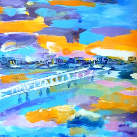 (CreativeWork) Water at  Sunset  in Burraneer Bay Print Ed. 1 of 50 by Suzanne West. Print. Shop online at Bluethumb.