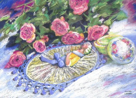(CreativeWork) Auntie's Treasures - Still Life by Jillian Crider. Drawings. Shop online at Bluethumb.