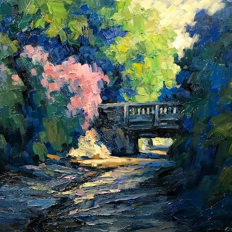 (CreativeWork) Early spring at Hawthorne canal reserve by Fangmin Wu. Oil Paint. Shop online at Bluethumb.