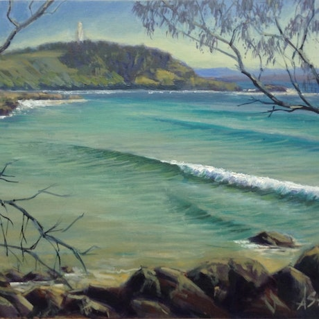 (CreativeWork) A Coastal Glimpse by Anne Strambi. Oil Paint. Shop online at Bluethumb.
