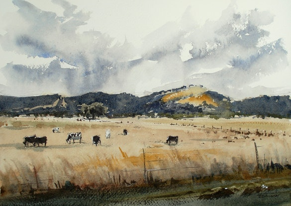 (CreativeWork) Yarra Glen From a Moving Car by Dylan Shearsby. Watercolour Paint. Shop online at Bluethumb.