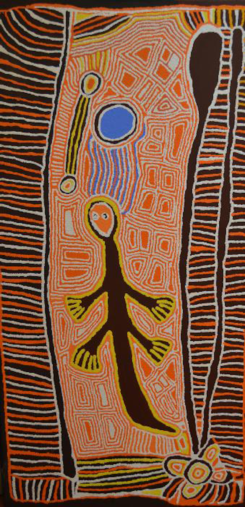 (CreativeWork) Kangaroo Man 1466-11 by Linda Syddick Napaltjarri. Acrylic Paint. Shop online at Bluethumb.