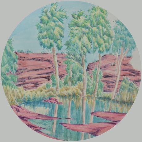 (CreativeWork) Circular Landscape #428a-16 by Hubert Pareroultja. Watercolour Paint. Shop online at Bluethumb.