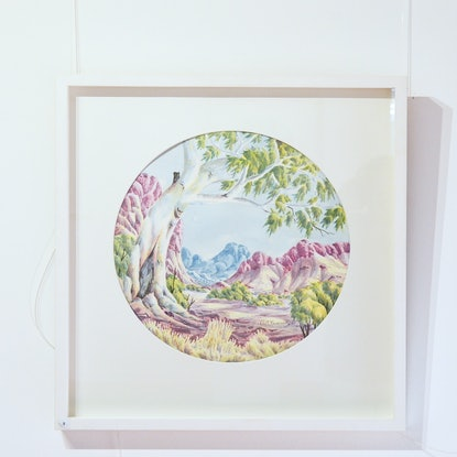 (CreativeWork) Circular Landscape #441-17 by Hubert Pareroultja. Watercolour Paint. Shop online at Bluethumb.