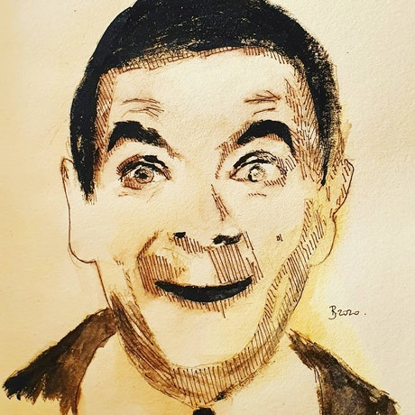 (CreativeWork) Mr Bean by Rebecca lam. Watercolour Paint. Shop online at Bluethumb.