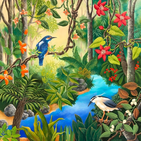Birds and flowers in the rainforest