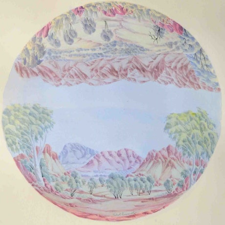 (CreativeWork) Circular Landscape #487-18 by Hubert Pareroultja. Watercolour Paint. Shop online at Bluethumb.