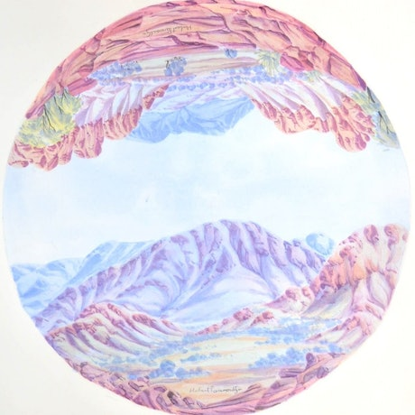 (CreativeWork) Mt Giles, MacDonnell Ranges - Circular Landscape #491a-18 by Hubert Pareroultja. Watercolour Paint. Shop online at Bluethumb.