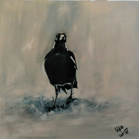 (CreativeWork) Curious Magpie by Kylie van Tol. Acrylic Paint. Shop online at Bluethumb.