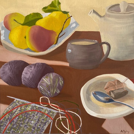 (CreativeWork) One More Row Before Tea by Amanda Ogilby. Oil Paint. Shop online at Bluethumb.