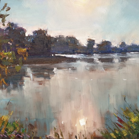 (CreativeWork) Lake Eden with morning sun by Minhan Cho. Oil Paint. Shop online at Bluethumb.