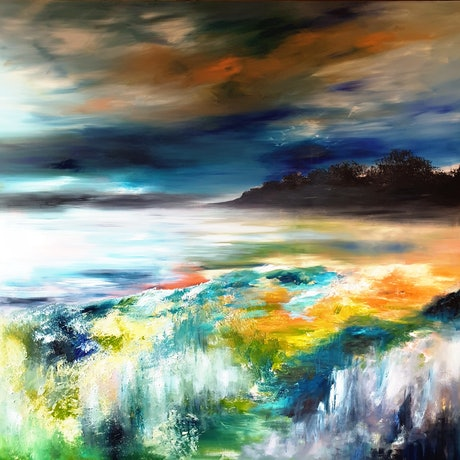 (CreativeWork) River Vista (205cm x 205cm) by Alice Howell. Oil Paint. Shop online at Bluethumb.