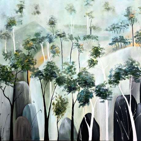 (CreativeWork) Regeneration (After the fires) by Marion Rispin. Acrylic Paint. Shop online at Bluethumb.