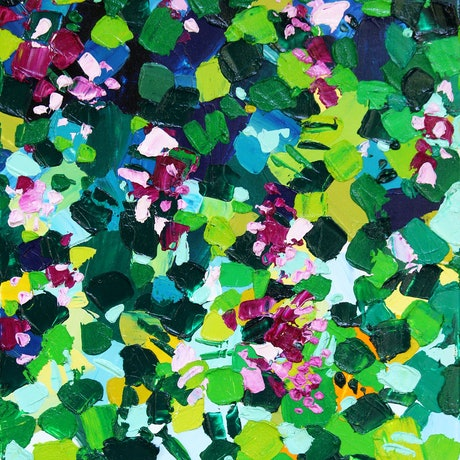 (CreativeWork) Coral Creeper - Abstract Floral by Eve Izzett. Oil Paint. Shop online at Bluethumb.