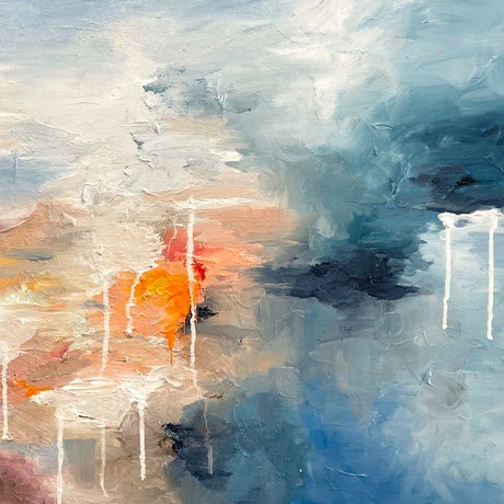 (CreativeWork) Chasing The Sun by Melanie Crawford. Acrylic Paint. Shop online at Bluethumb.