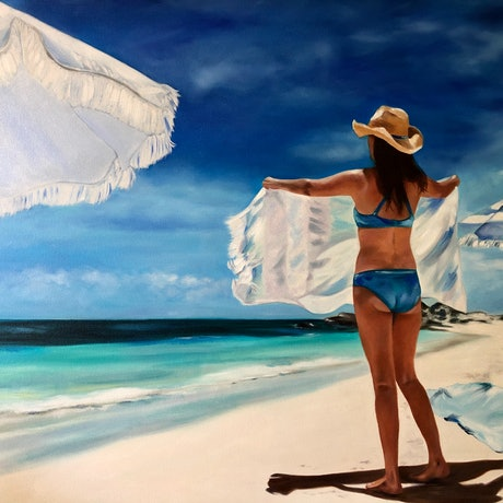 (CreativeWork) Meet me In The Middle - original oil painting figurative beach by Mia Laing. Oil Paint. Shop online at Bluethumb.