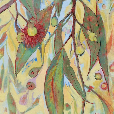 (CreativeWork) Red Blossoms by Lyn Watts. Acrylic Paint. Shop online at Bluethumb.