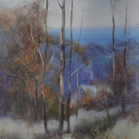 (CreativeWork) Home Among the Red Gums by Michael Cartwright. Oil Paint. Shop online at Bluethumb.
