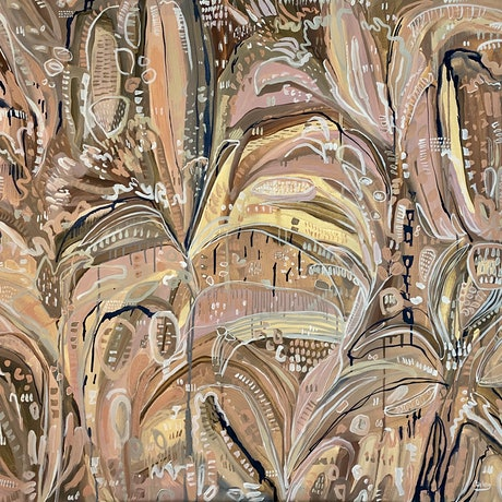 (CreativeWork) Beige and Blooms  by Carley Bourne. Acrylic Paint. Shop online at Bluethumb.