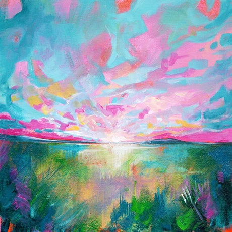 (CreativeWork) Landscape 6 by Eve Izzett. Acrylic Paint. Shop online at Bluethumb.