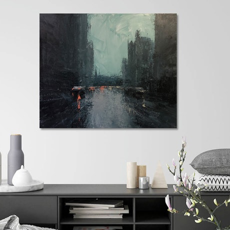 (CreativeWork) Morning Rain - Rainy-day city by Mike Barr. Acrylic Paint. Shop online at Bluethumb.